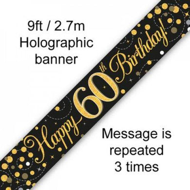 Sparkling Fizz Black & Gold 60th Birthday Banner 2.7m