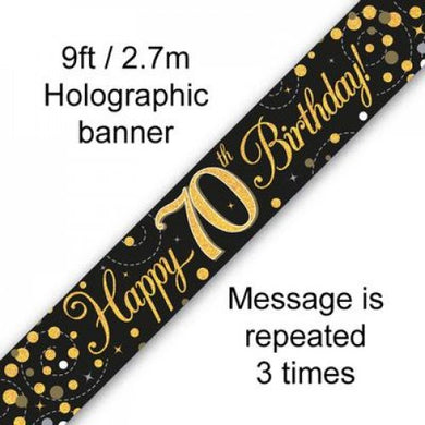 Sparkling Fizz Black & Gold 70th Birthday Banner 2.7m