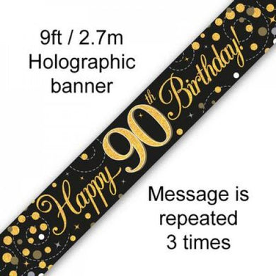 Sparkling Fizz Black & Gold 90th Birthday Banner 2.7m