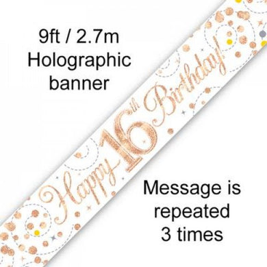 Sparkling Fizz Rose Gold 16th Birthday Banner 2.7m