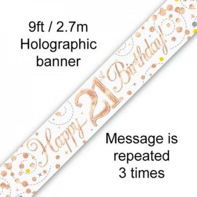 Sparkling Fizz Rose Gold 21st Birthday Banner 2.7m