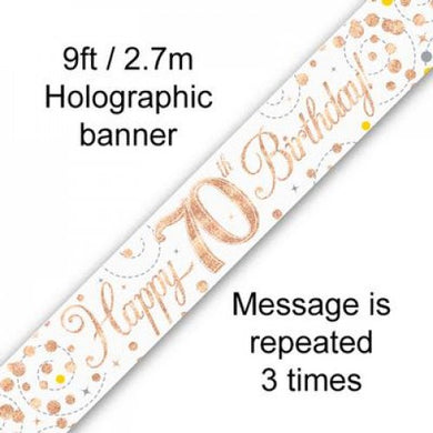 Sparkling Fizz Rose Gold 70th Birthday Banner 2.7m