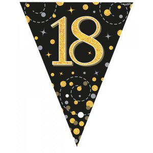 18th Birthday Sparkling Fizz Black Gold Bunting