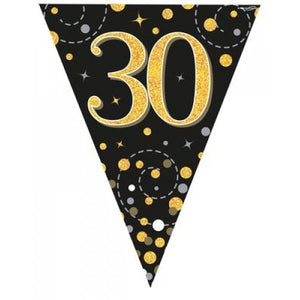 30th Birthday Sparkling Fizz Black Gold Bunting