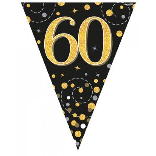 60th Birthday Sparkling Fizz Black Gold Bunting
