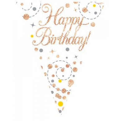 Happy Birthday Sparkling Fizz Rose Gold Bunting