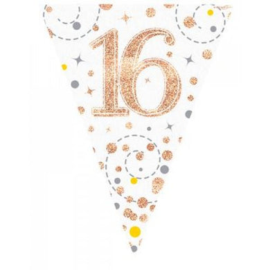 16th Birthday Sparkling Fizz Rose Gold Bunting