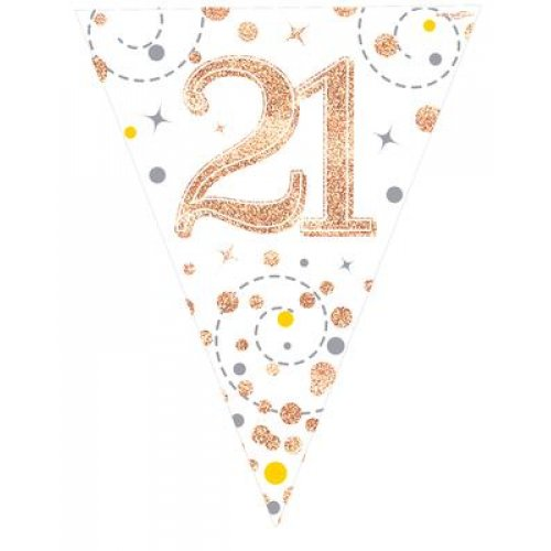 21st Birthday Sparkling Fizz Rose Gold Bunting