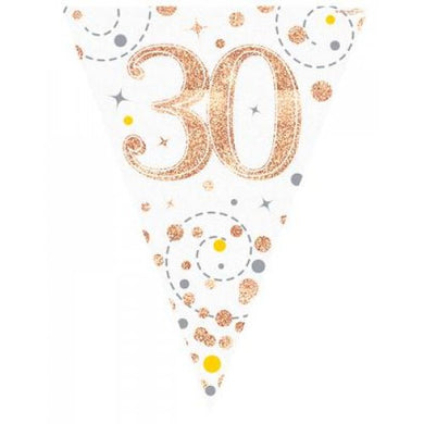30th Birthday Sparkling Fizz Rose Gold Bunting