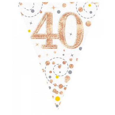 40th Birthday Sparkling Fizz Rose Gold Bunting
