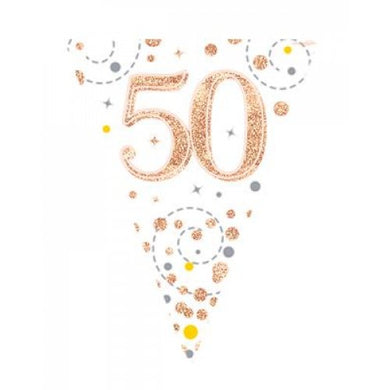 50th Birthday Sparkling Fizz Rose Gold Bunting
