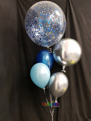 60cm Blue and Silver Confetti Balloon Bouquet