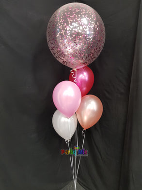 60cm Pink and Silver Confetti Balloon Bouquet