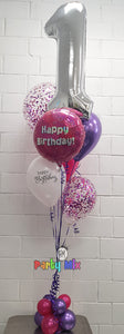Pink & Purple Number Birthday Balloon Bouquet