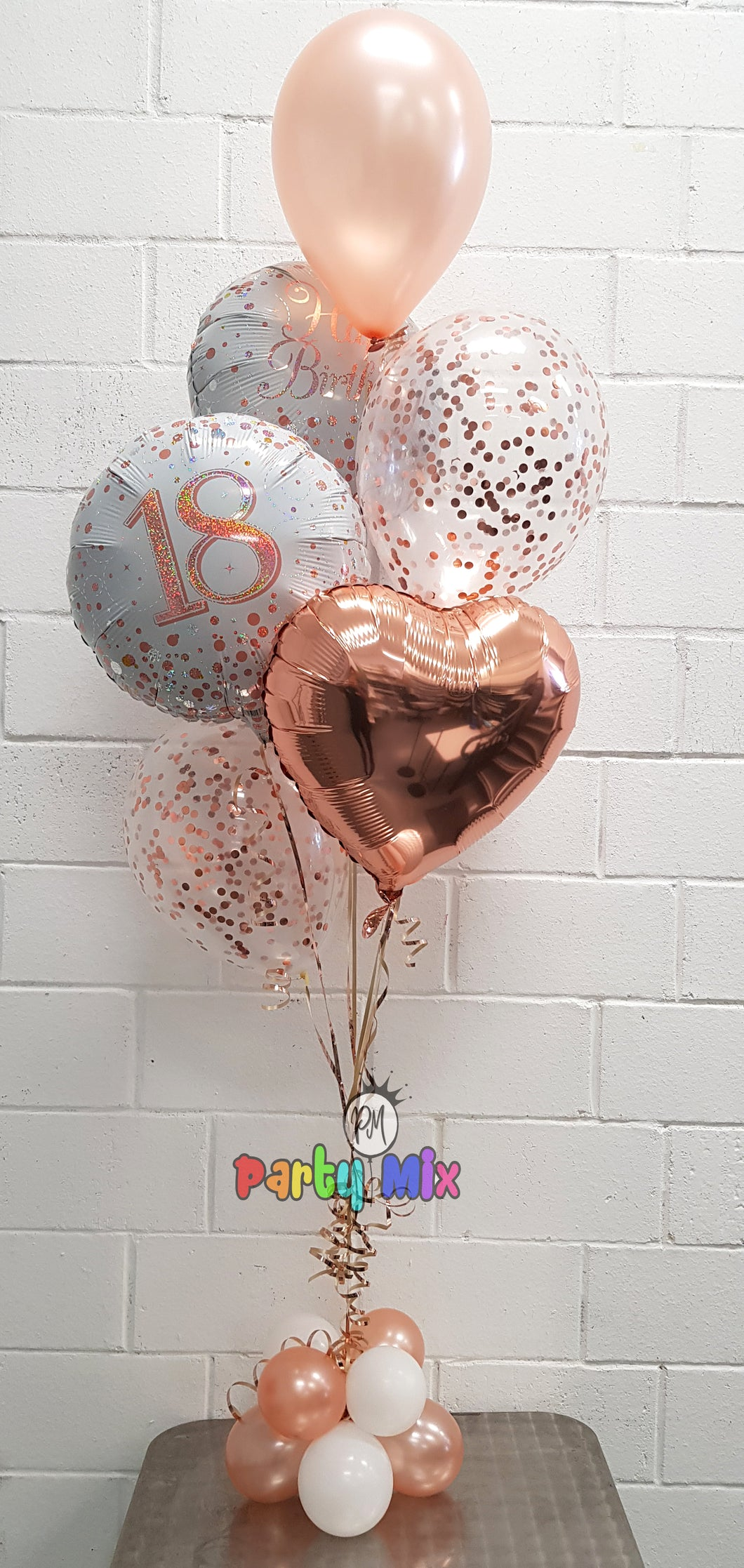 Rose Gold Age with Heart Balloon Bouquet