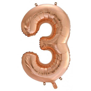 Rose Gold Number Foil Balloons