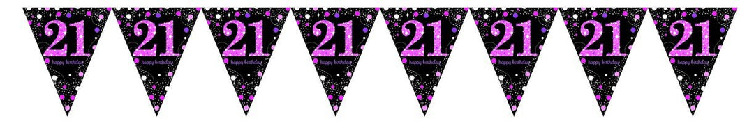 Prismatic Pink Pennant Banner 21st
