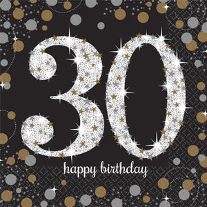 Sparkling Celebration 30th Napkin Black