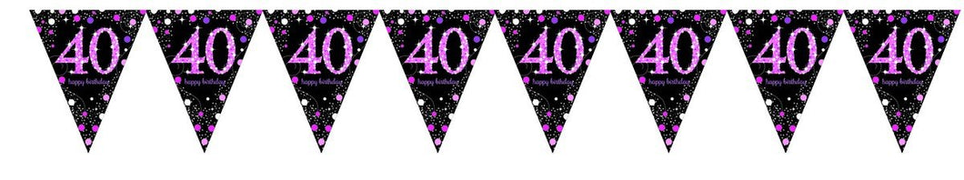 Prismatic Pink Pennant Banner 40th