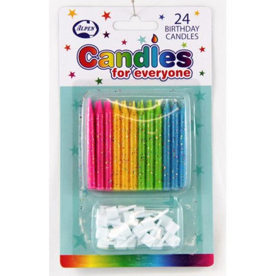 Glitter Candles with holders P24
