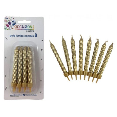 Metallic Gold Jumbo Candles with holders P8