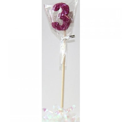 Pink Glitter Long Stick Candle #3 P1