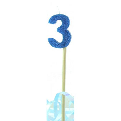 Blue Glitter Long Stick Candle #3 P1