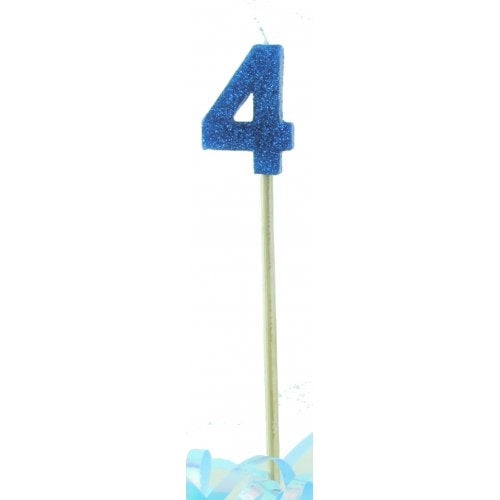 Blue Glitter Long Stick Candle #4 P1