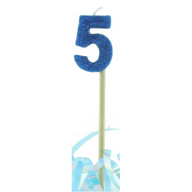 Blue Glitter Long Stick Candle #5 P1