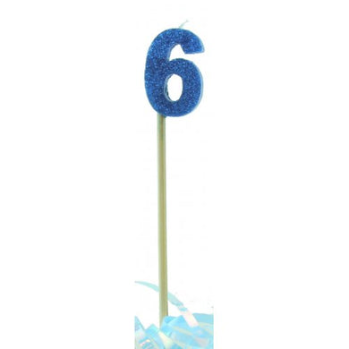 Blue Glitter Long Stick Candle #6 P1