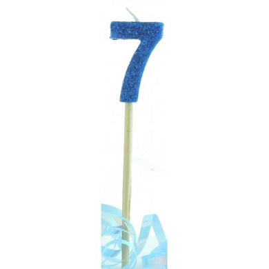 Blue Glitter Long Stick Candle #7 P1