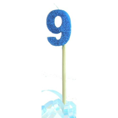 Blue Glitter Long Stick Candle #9 P1