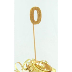 Gold Glitter Long Stick Candle #0 P1