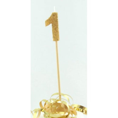 Gold Glitter Long Stick Candle #1 P1