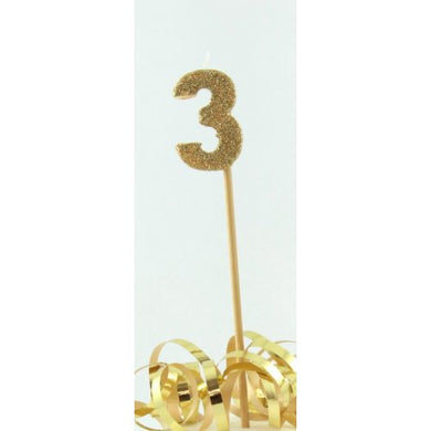 Gold Glitter Long Stick Candle #3 P1