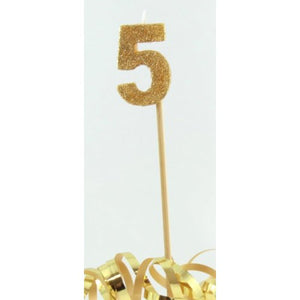 Gold Glitter Long Stick Candle #5 P1