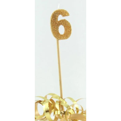 Gold Glitter Long Stick Candle #6 P1