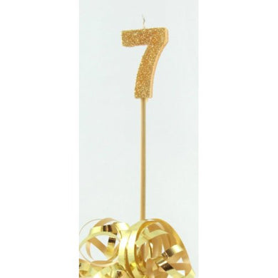 Gold Glitter Long Stick Candle #7 P1