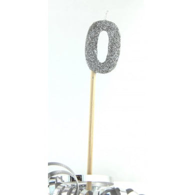 Silver Glitter Long Stick Candle #0 P1