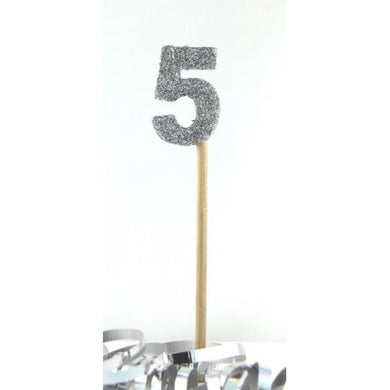 Silver Glitter Long Stick Candle #5 P1