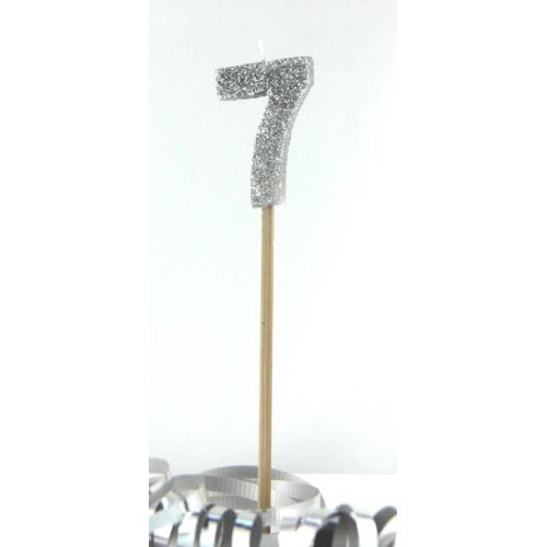Silver Glitter Long Stick Candle #7 P1