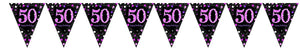Prismatic Pink Pennant Banner 50th