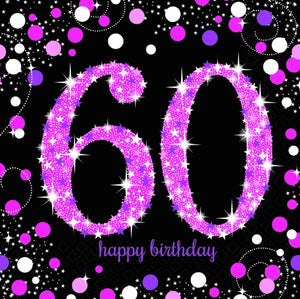 Sparkling Celebration 60th Napkin Pink