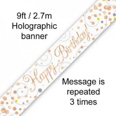 Sparkling Fizz Rose Gold Birthday Banner 2.7m