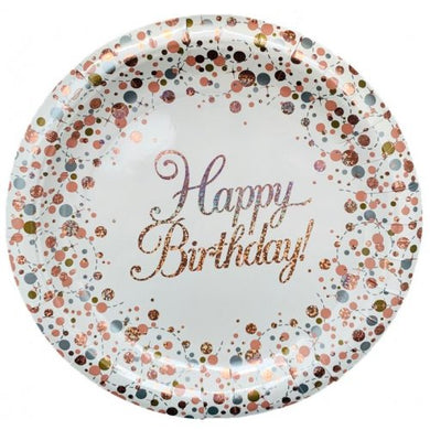 Happy Birthday Plates Sparkling Fizz Rose Gold