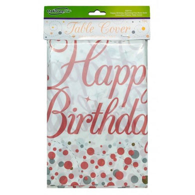 Happy Birthday Sparkling Fizz Rose Gold Tablecover