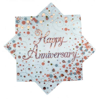 Happy Anniversary Sparkling Fizz Rose Gold Lunch Napkin