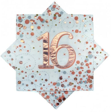 16th Birthday Sparkling Fizz Rose Gold Lunch Napkin