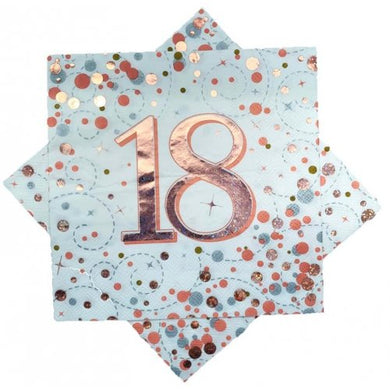 18th Birthday Sparkling Fizz Rose Gold Lunch Napkin