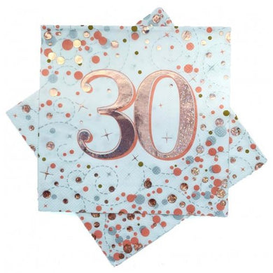 30th Birthday Sparkling Fizz Rose Gold Lunch Napkin